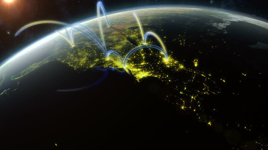 Global Network. Animation showing a data network spreading across the world. Created in 4K.