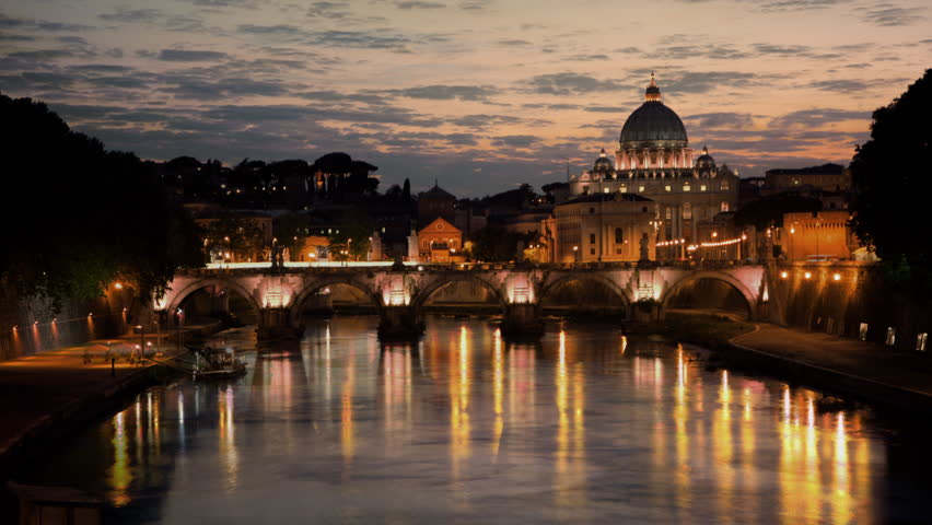 Sunset time-lapse of the Vatican City, from across the Tevere River | Shutterstock HD Video #5794973