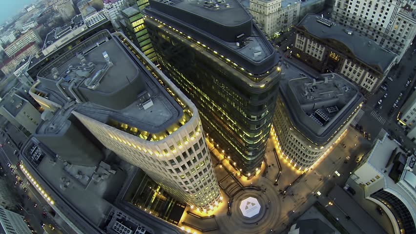 MOSCOW - NOV 02, 2013: Top view of modern business centre White Square and streets with illumination at autumn evening. Complex was built in 2006-2009   Shutterstock HD Video #5804744
