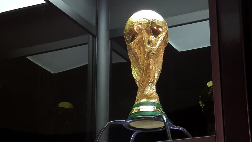 SARAJEVO, BOSNIA AND HERZEGOVINA - March, 2014: The FIFA World Cup Trophy Tour exposes the winners trophy on March 7-8, 2014 in Sarajevo, Bosnia and Herzegovina. | Shutterstock HD Video #5814653