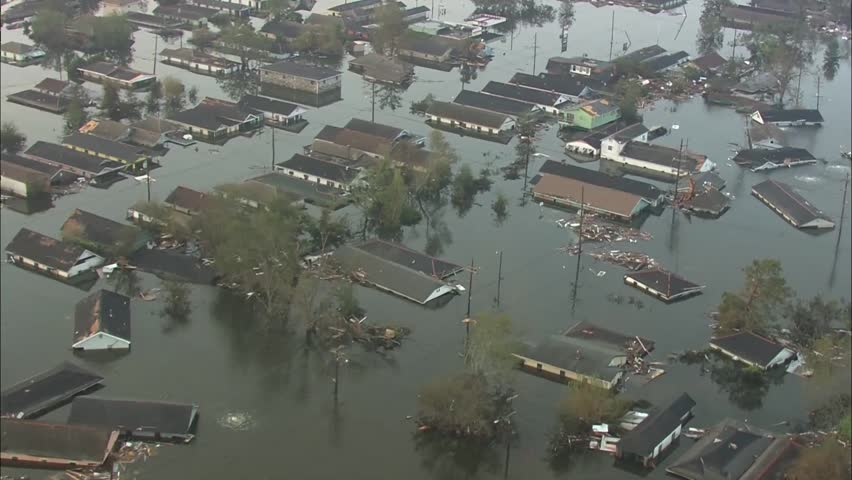 Hurricane Katrina Flood Damage. The sun rises over neighborhood that has been flooded and destroyed by Hurricane Katrina. Damage from the storm is severe. | Shutterstock HD Video #5814986