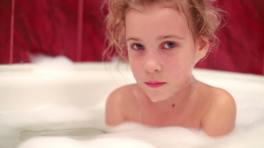 Cute Little Girl at Bathroom Stock Footage Video (100% ...