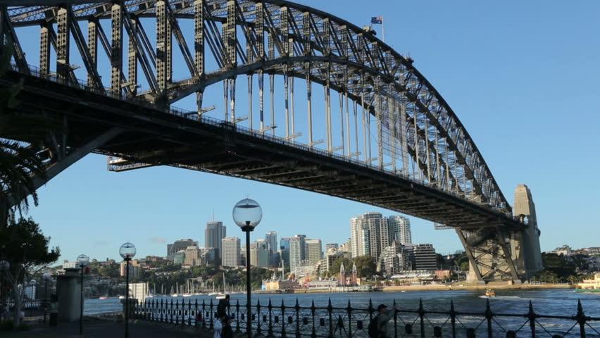 Sydney Harbour Bridge and milsons point, luna park, Australia on a sunny day with blue sky. #5832002