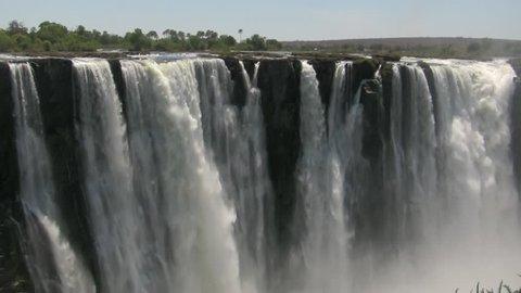 Detailed view of falling water at Victoria Falls (Zimbabwe / Zambia)