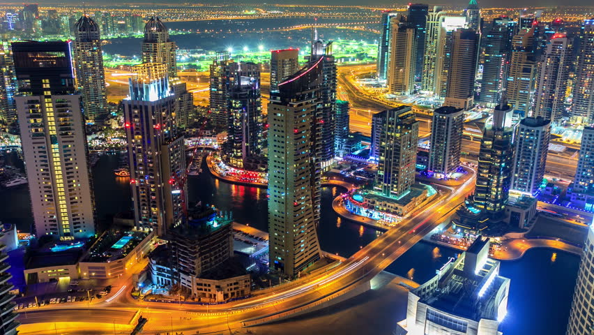 Dubai Marina panorama timelapse at night  with rapid zoom of skyscraper made from  the highest rooftop | Shutterstock HD Video #5870528