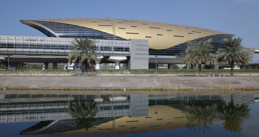 DUBAI, UNITED ARAB EMIRATES, UAE - JANUARY 20, 2014 Dubai Metro Spectacular Futuristic Armadillo Structure Design Subway Station ( Ultra High Definition, Ultra HD, UHD, 4K, 2160P, 4096x2160 )