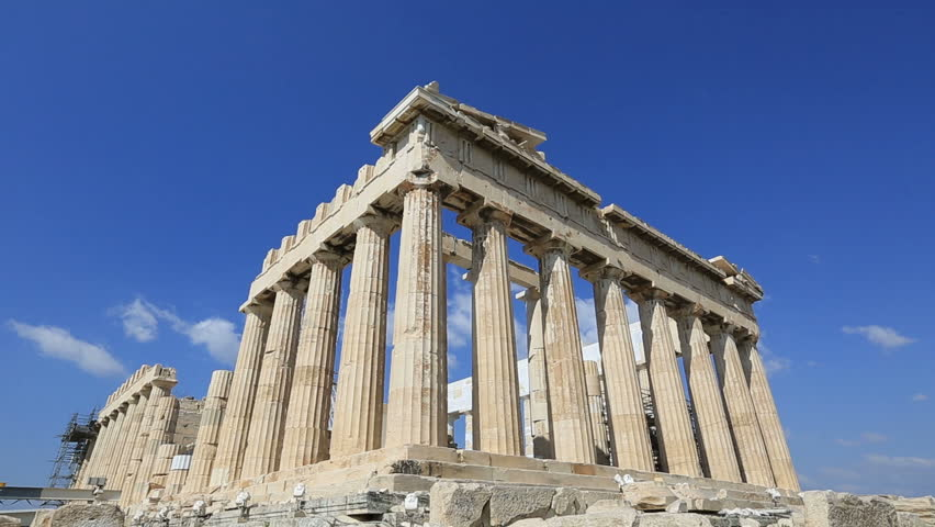 time lapse Ancient Acropolis in Athens Greece