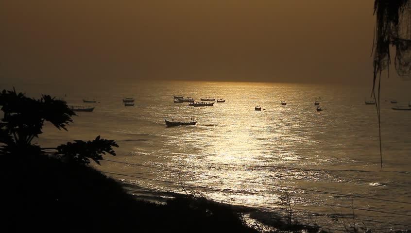 SUNSET ON THE SEA, AFRICA - Still Shot from a village hut