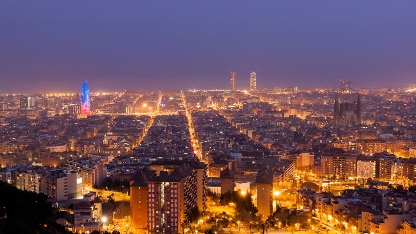 Barcelona Day to Night Time Lapse