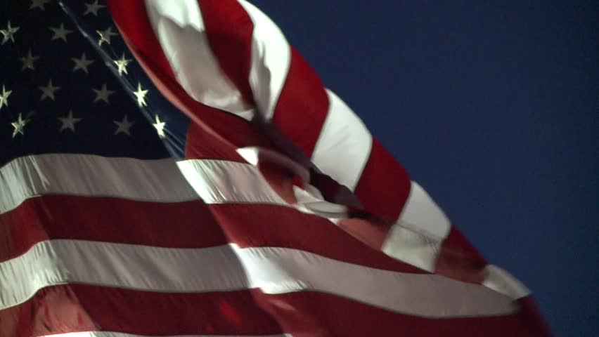 AMERICAN FLAG USA DRAMATIC WAVING NIGHT IN WIND LONG CLIP HD STOCK VIDEO CLIP FOOTAGE  1920X1080