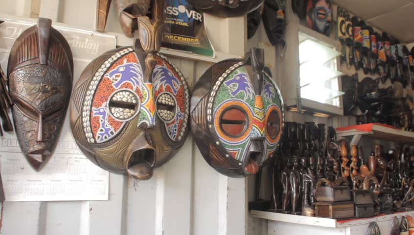 Creative handy African Art works masks in a shop