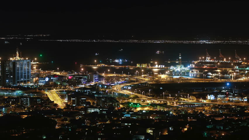 Cape town city overview time-lapse shot during busy night | Shutterstock HD Video #5938868