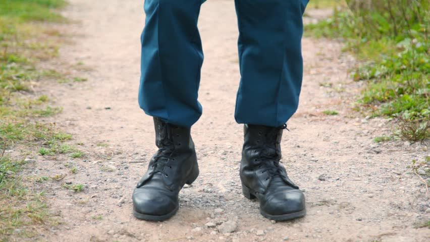 Soldier in Military Boots Running Stock