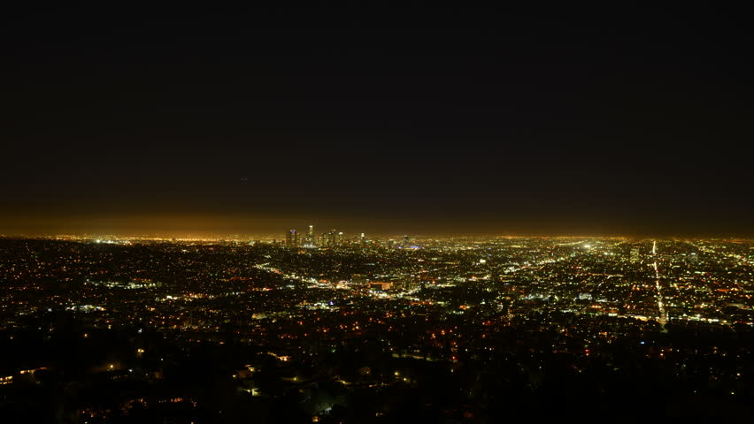 Los Angeles Night View 57 Panning Left Timelapse Traffic