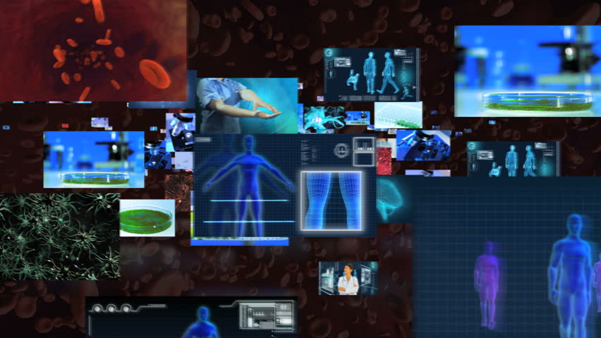 Montage 3D fly through of Multi ethnic medical researchers working in hospital laboratory using modern sterile equipment and futuristic touch screen digital technology