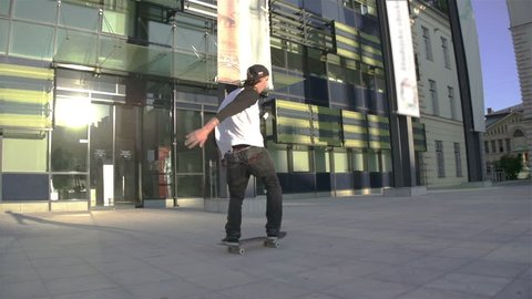 Young skateboarder performing tricks