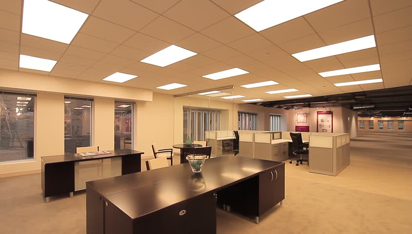 office cubicle job empty. The empty floor to an office building that is fully furnished. #5966036