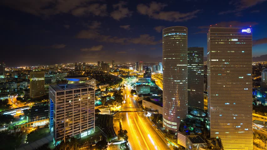 Tel Aviv Aerial View Time Lapse - From Night to Day Timelapse