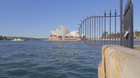 SYDNEY,AUSTRALIA - CIRCA May 2013 :cinematic wide dolly shot of the the Sydney opera house and yacht
