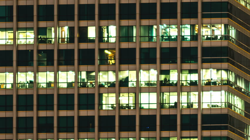 4K: Time lapse, Office building viewed in the evening, High quality, Ultra HD, 4096x2304
