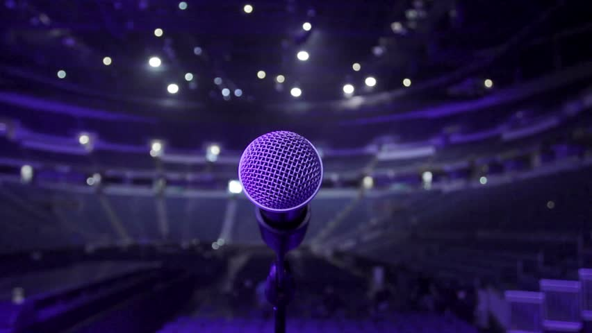 Microphone on stage at a concert venue