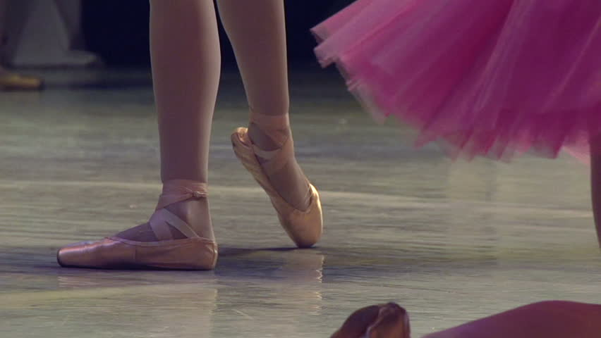 Ballerinas on the Stage. Feet in pointe dancing ballerinas on the stage. Slow Motion at a rate of 120 fps | Shutterstock HD Video #5997923