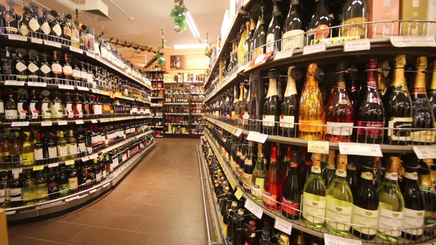 MOSCOW, RUSSIA - DEC 8, 2012: Wine in supermarket of home food Bahetle. Currently company Bahetle has 25 stores.