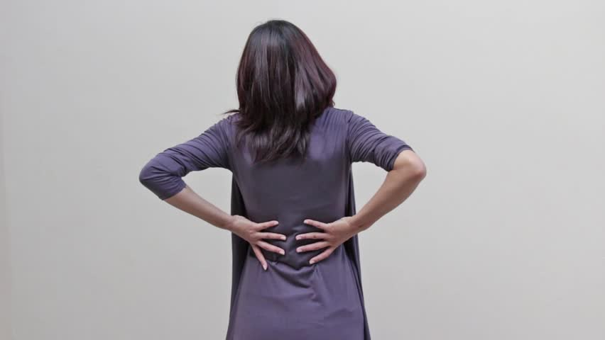 woman with backpain, spinal, waist, lower back problem, rear view