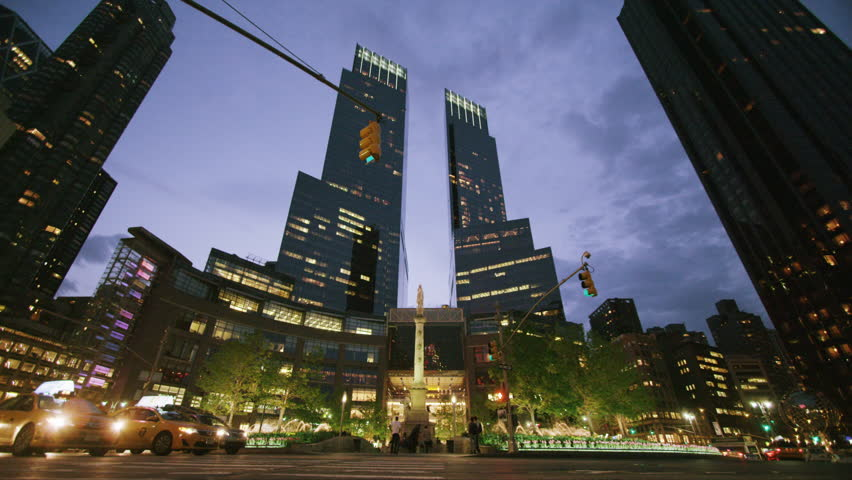 New York USA - September 12, 2013 - Columbus circle NYC night time lapse   Shutterstock HD Video #6031391