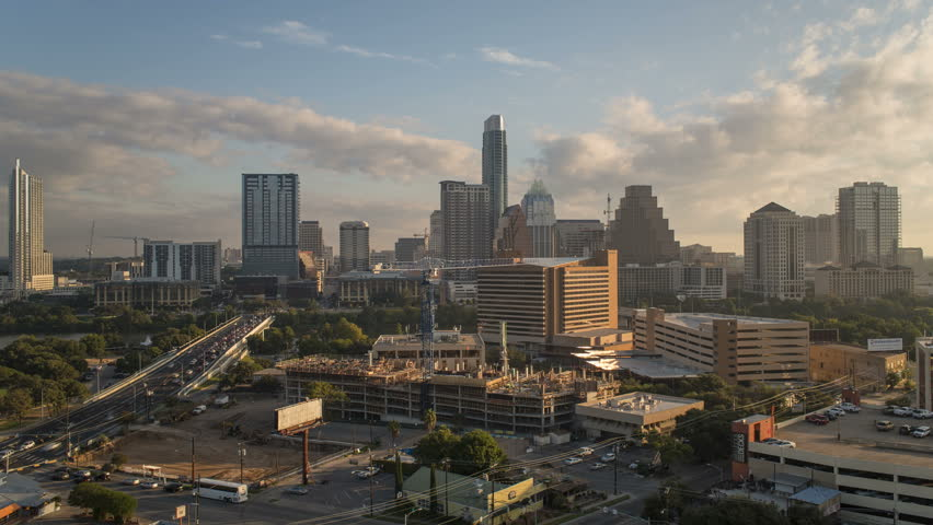 AUSTIN - CIRCA NOVEMBER 2013: Austin, Texas, USA, city skyline, time-lapse