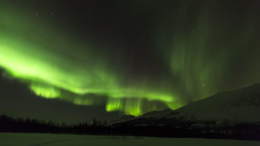 NORWAY - CIRCA JANUARY 2013: Aurora Borealis, Northern Lights, Troms region, Norway   Shutterstock HD Video #6049922