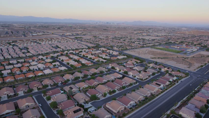 Aerial view of suburban sprawl near Las Vegas, Nevada.