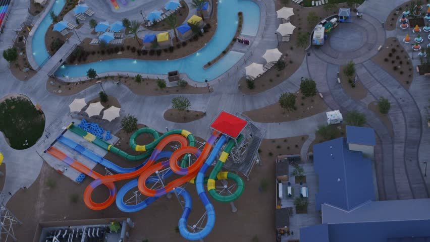 Aerial view of a water park near Las Vegas, Nevada. | Shutterstock HD Video #6057548