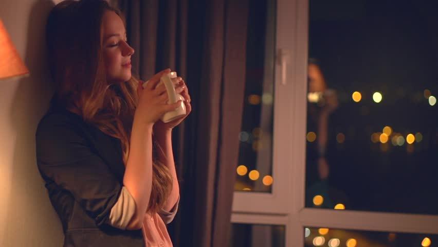 Beautiful Girl Drinking Tea or Stock Footage Video (100% Royalty ...