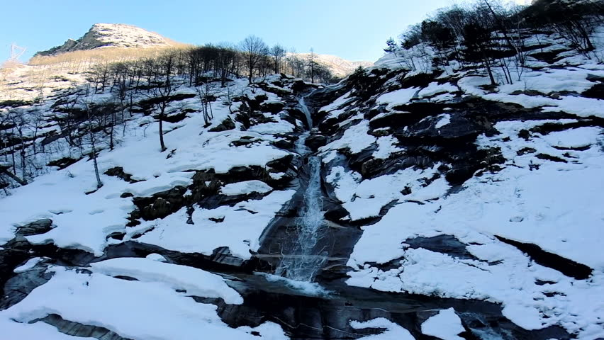 snow mountain river. snowcapped. snow covered. winter landscape. fly over #6065537