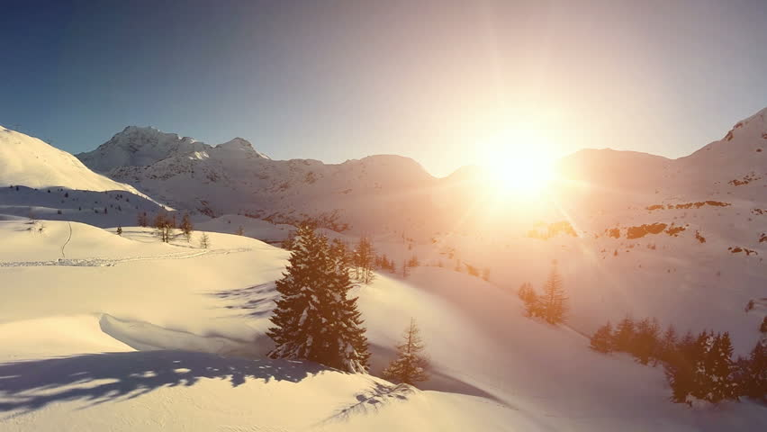mountain sunset view. fly over snow winter landscape. aerial view #6065552