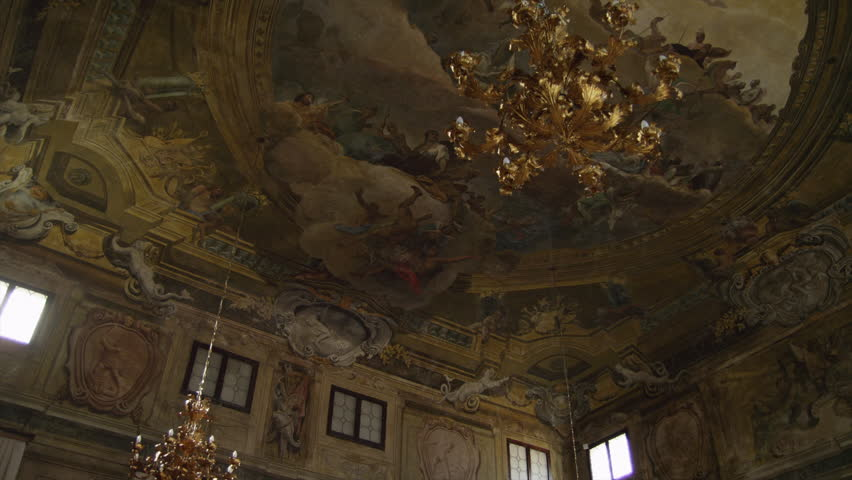 Wide Shot PAN Ornate ceiling with gilded lamp / Venice, Veneto, Italy