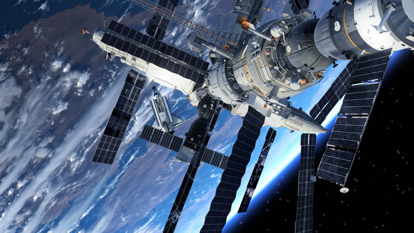 Space Station And Space Shuttle Orbiting Earth. 3D Animation.