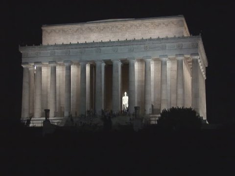 Long zoom of the Lincoln Memorial in Washington, DC