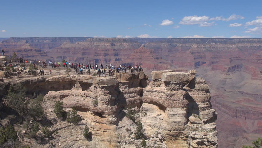 Tourist people visit Grand Canyon, USA, America in sunny day  | Shutterstock HD Video #6073652