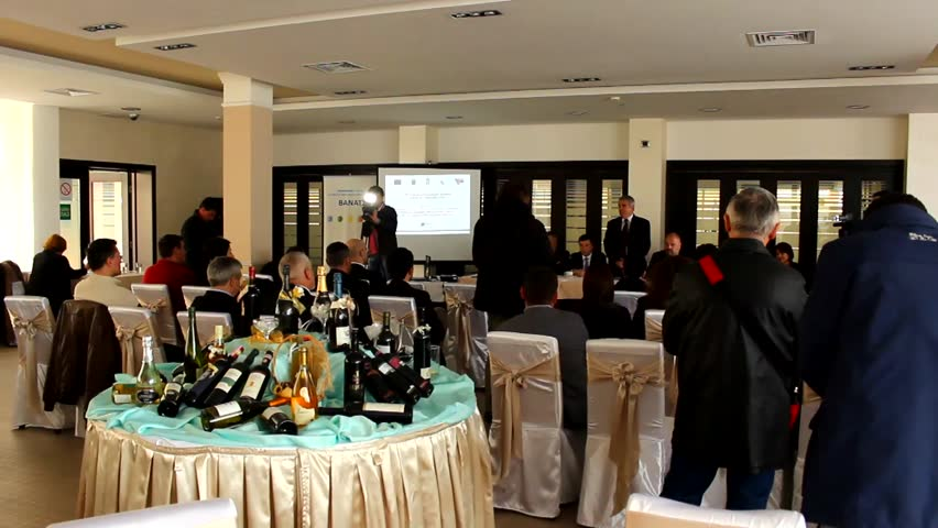 Zrenjanin,Serbia - March 20 2014 :business press conference , a large selection of wines and champagne on March 20 2014 in Zrenjanin, Serbia