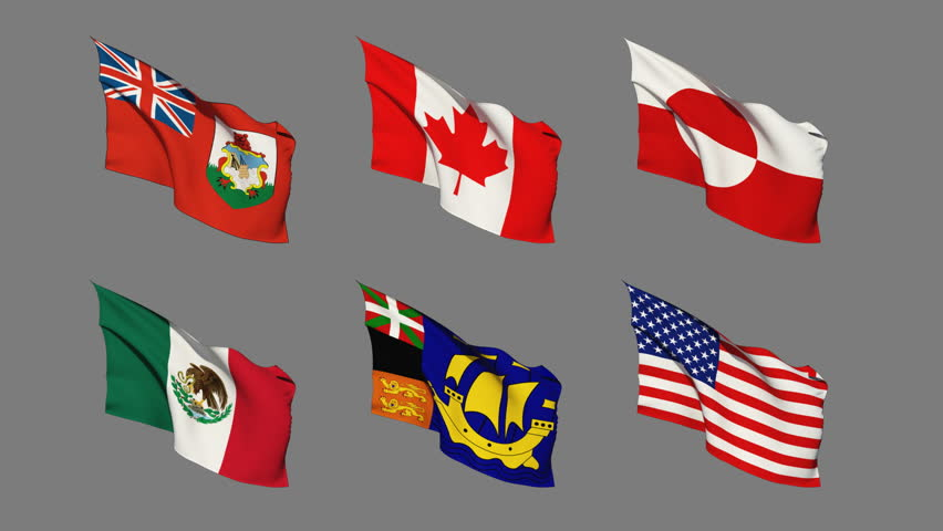 Flags of North America Waving. Seamless Loop with Matte Channel   Shutterstock HD Video #6089918