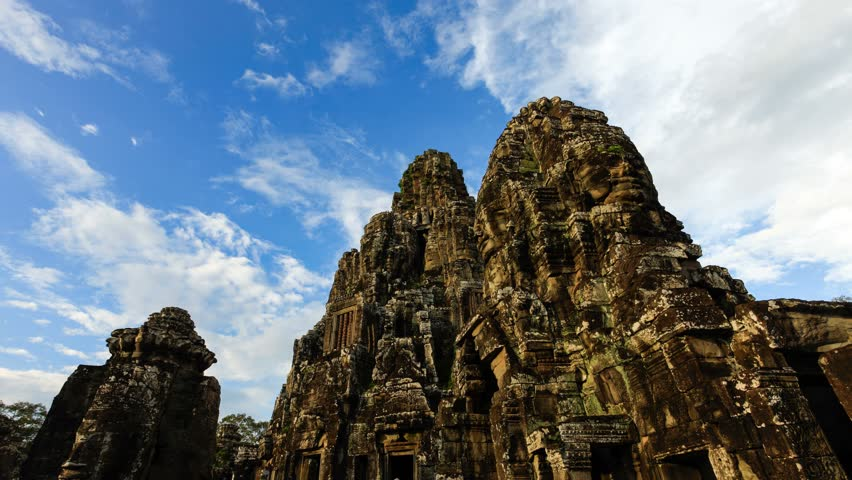 SIEM REAP - OCT 21: Timelapse view of Bayon temple at Angkor. 21 October 2011 in Siem Reap, Cambodia.