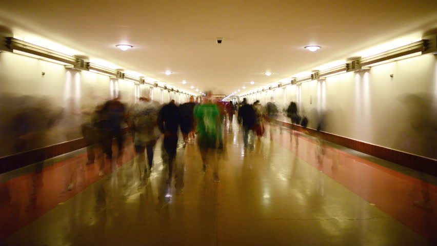 4K Time Lapse of Union Station Hallway with Commuters in Motion Blur -Zoom In-