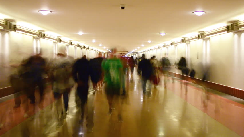 4K Time Lapse of Union Station Hallway with Commuters in Motion Blur -Zoom Out-