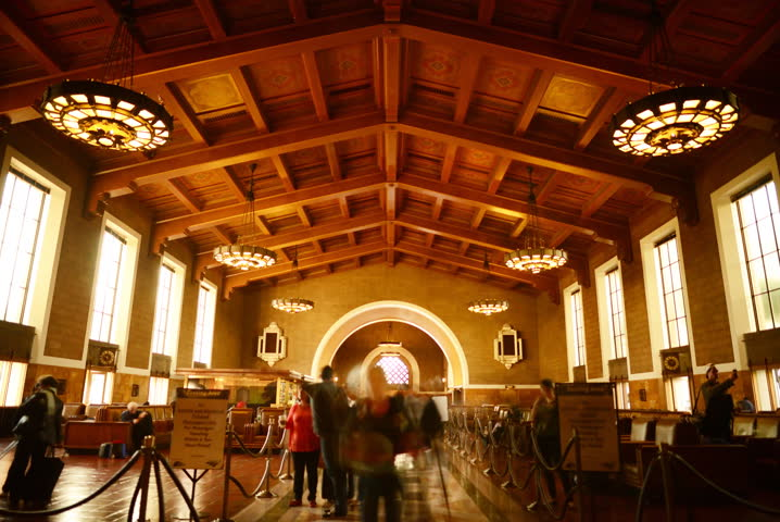 4K Time Lapse of Historic Union Station in Los Angeles with Commuters in Motion Blur -Full Frame-