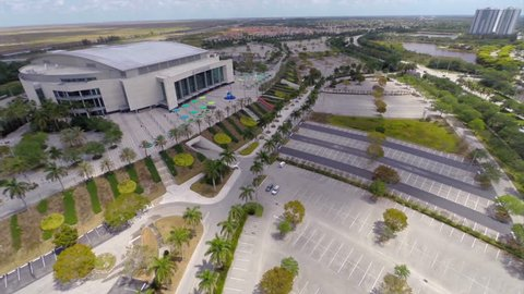 SUNRISE - APRIL 12: Aerial video of the BB&T Bank Center sports arena. BB&T is home to the Florida Panthers hockey league.
