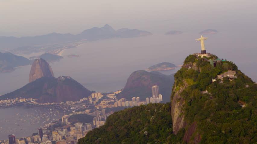 Aerial panorama of Rio de Janeiro, Christ statue   Shutterstock HD Video #6107552