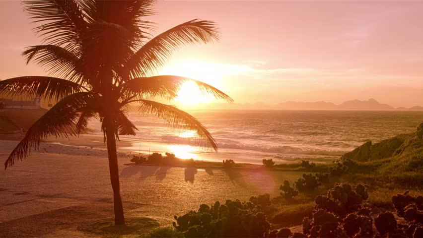 Empty Ipanema beach at sunset #6112391