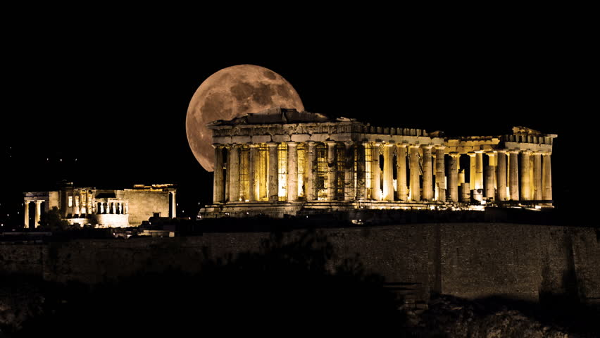Moon Rises Behind Parthenon, Acropolis of Athens, Greece - 4k Ultra High Definition Video Timelapse at 4096X2304
